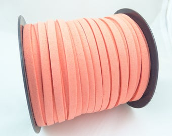 2 m cable flat suede coral 5 MM