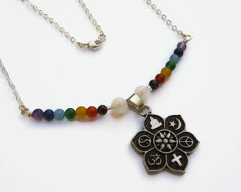 7 Chakra Coexist Necklace, .925 Sterling Silver Chain, Rainbow Lotus Necklace, Beaded Necklace, Gemstone Jewelry,  Minimalist Necklace