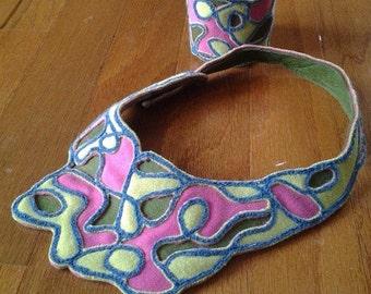 Mod fabric collar necklace and cuff bracelet