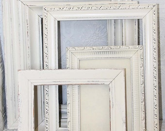 Cream Painted Frame Set Of 5 Shabby Chic Vintage Hand Painted Distressed Frame