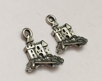 2 pc pewter sandcastle charm, beach charm, jewelry supplies