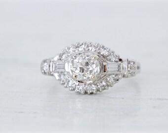 SALE Art Deco Engagement Ring | Platinum Ring | Antique Wedding Ring | Vintage Diamond Wedding Ring | 1930s Engagement Ring | Size 5.5