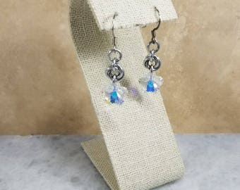 Chainmaille Earrings - Silver with Swarovski Flowers