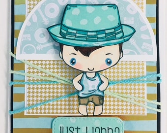 Hand made greeting farm 'just wanna have fun' every day card, boy image Greeting Farm blank inside hand paper pieced
