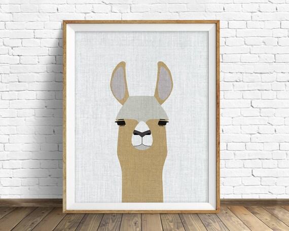 Llama - art print, large art, mid century modern wall art, art for kids, nursery decor, nursery wall art, kids room art, nursery art, llama