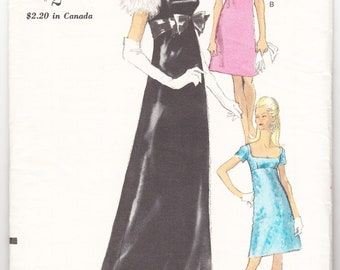 Vintage 1967 Vogue 7171 Sewing Pattern Misses' Evening Dress in Two Lengths Size 14 Bust 34