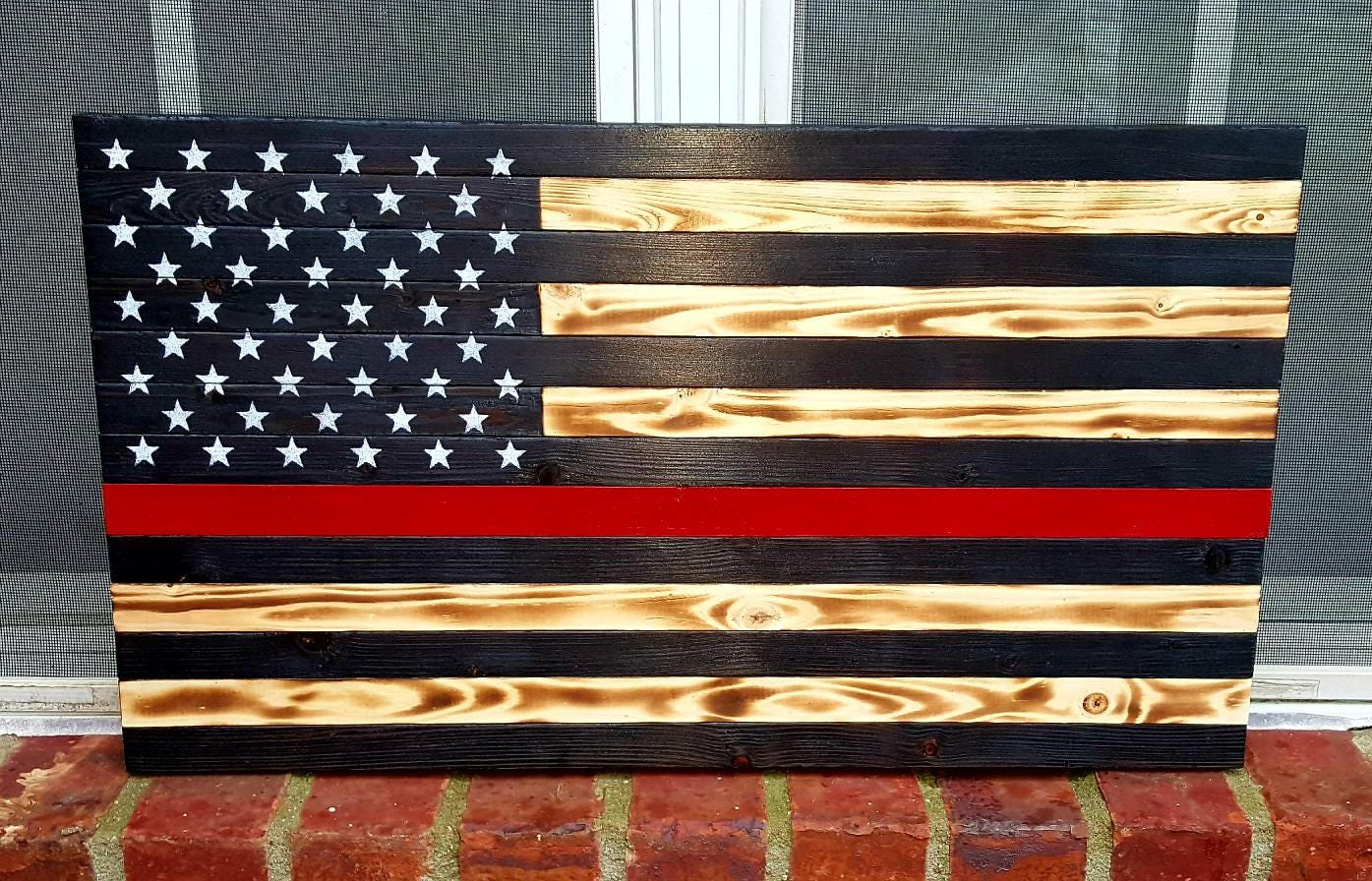 Thin Red Line Flag Firefighter Flag Wood Flag Wooden Flag