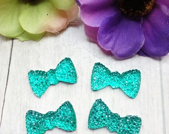 SET OF 4 BOW RHINESTONE CELADON GREEN
