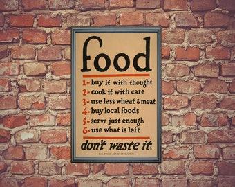 Vintage Food Administration Poster | Food Saver Poster | US Food Poster
