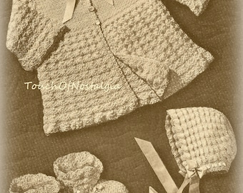 HEIRLOOM Layette Crochet Pattern - Very Dainty/Lacy Includes BONUS Pattern - Perfect For Heirloom Christening Special Occasion Sunday Best