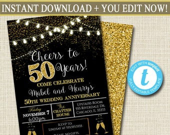 editable 50th party invitation birthday printable cheers to fifty years digital 50th wedding anniversary invite black gold party decor