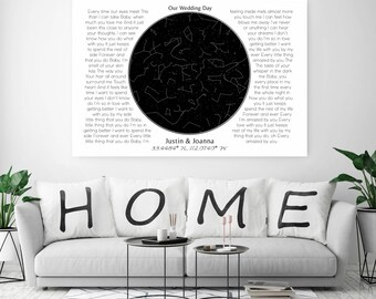 Custom Song Lyrics Canvas, Personalized First Dance Lyrics, Night Sky Map From Special Moment, Custom Star Map