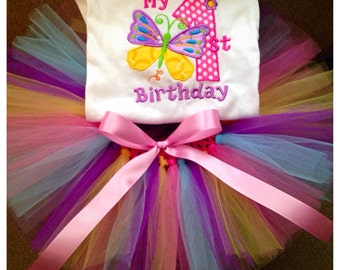 Butterfly 1st birthday tutu outfit, first birthday