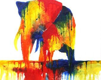 Modern Elephant Drip Art Painting Print