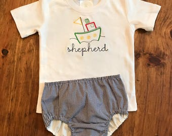 Personalized Tugboat Embroidery Shirt and Diaper Cover Set