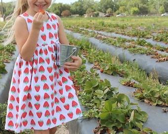 Strawberry Dress, baby dress, toddler dress, girl dress, summer dress, strawberry outfit, summer outfit, fruit dress