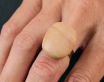Natural stone ring and non-allergenic stainless steel # 9/17-12