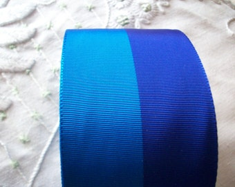 french vintage ribbon stripe in shades of sapphire and midnite 1940's