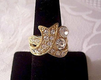 Swirl Wave Size 6 or 10 Crystal Encrusted Band Ring Gold Tone Vintage Winding Open Flat Wide Round Clear Faceted Stones