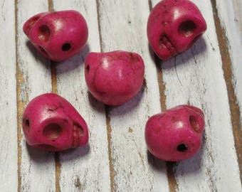 Skull Beads, Howlite Beads, Dyed, Pink Skull, approx. size 10 x 8 x 9 mm, Hole: 1 mm - 5 Pcs