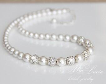 Wedding Jewelry , Swarovski Pearl Bridal Jewelry, Pearl Necklace, Bridal Necklace, Wedding Necklace, Bridal Jewelry  n10