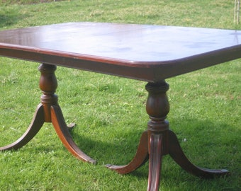 Antique Double Pedestal Cherry Table, Traditional Dining Table, Paint to Order, Custom Painted, 5 Foot Table, Farm House Table