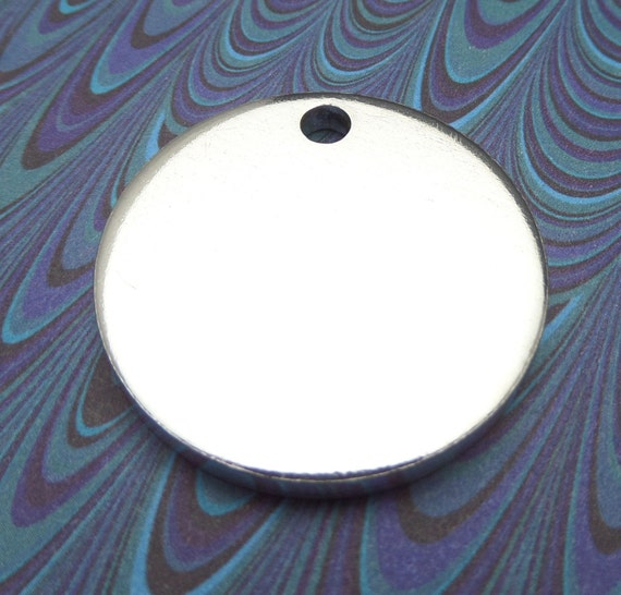"""2 Polished 1.25 Inch Discs 8 Gauge ONE 5mm HOLE Pure Food Safe Metal Almost 1/4"""" Thick - 2 Discs"""
