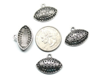 6 Antique Silver Dotted Football Charms