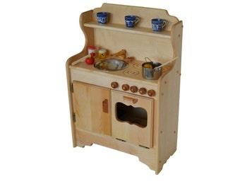 Natural Wooden Play Kitchen- Toy kitchen- Waldorf Kitchen-Montessori Stove- Pretend Play- Wooden Toy- Play Food- Child's Kitchen- Play Stove
