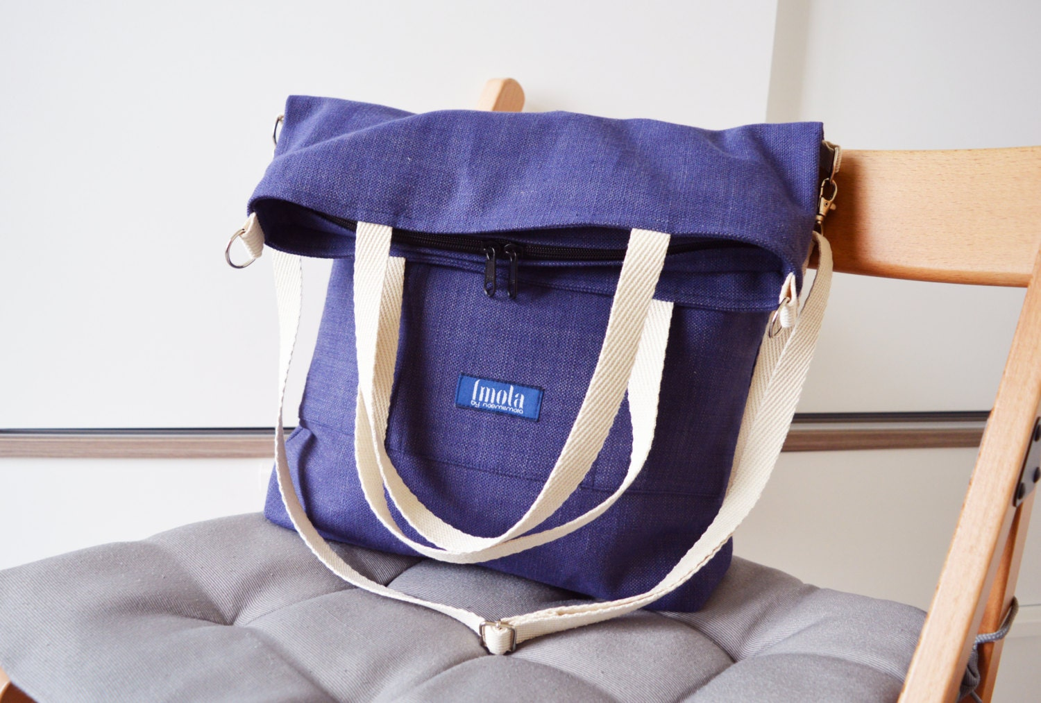 Large Fold Over Canvas Tote Bag Shopping Casual