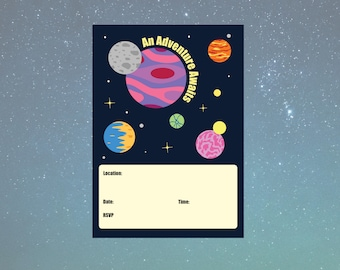 A6 Printable Space Voyage Invitation - Solar System Collection - 105x148mm - PDF INSTANT DOWNLOAD