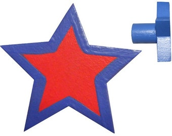 Star Drawer Knob - Red and Blue Star Drawer Pull