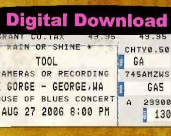 TOOL Concert Ticket Stub, PHOTOSHOP FILE