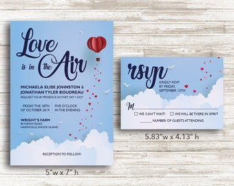 "Paper ""Love is in the Air"" Wedding Invitations and RSVP Cards with Envelopes"