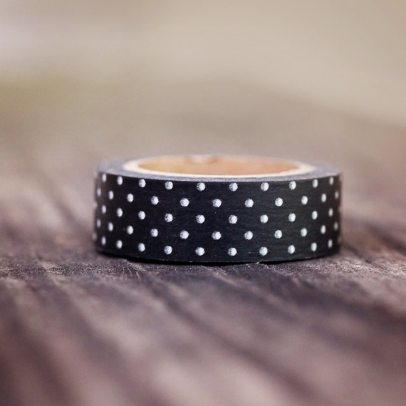 Black with White Mini Dots -  Single Roll 15mm ||Rustic Wedding, Classy Wedding, Black and White Wedding, New Years Eve