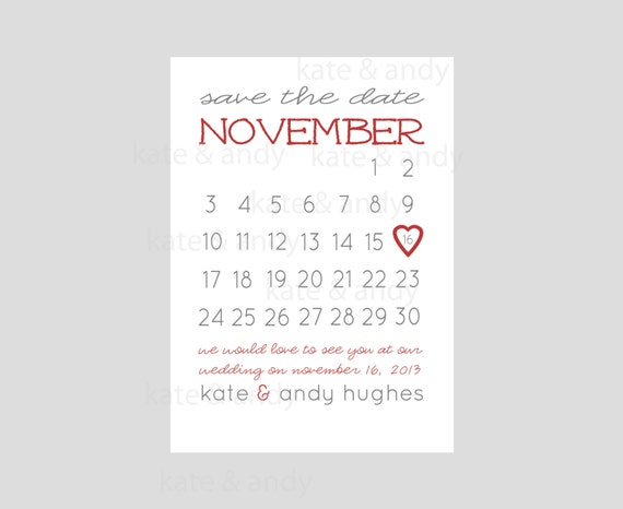 Save the date save the date calendar card printable wedding for Printable save the date cards
