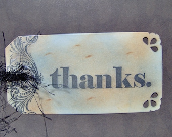 "Gift Tags-Vintage Style Thank You Gift Tag-""Thanks"" Gift Tags-Custom Ink Distressed by Hand-5 MediumTags"