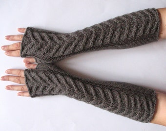 "Fingerless Gloves Long Dark Gray 15"" Mittens Arm Warmers Acrylic Wool"