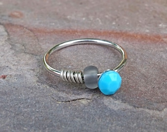 Turquoise Silver Nose Hoop Nose Ring 20G Nose Ring