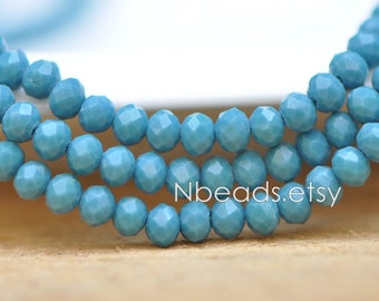 150 beads- Crystal Glass Rondelle Faceted Tiny beads 3x4mm, Opaque Peacock Blue (#BZ04-124)