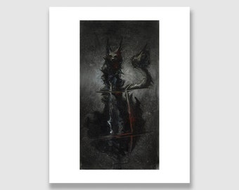 Ghostly Black Cat. Dark Fantasy Art Print.