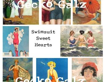 Swimsuit Sweet Hearts Digital Collage Sheet