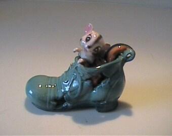 Vintage 1960's ceramic chipmunk in a green shoe - Japan