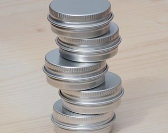 Small Metal Tins, Blank Round Silver Color, 15ml Screw Lidded