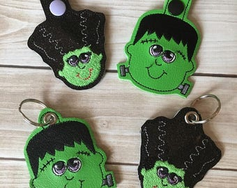 Frankenstein and Frankenstein Girl - Snap Tab and Eyelet Versions INCLUDED - Halloween - In The Hoop -  Fob - DIGITAL Embroidery Design