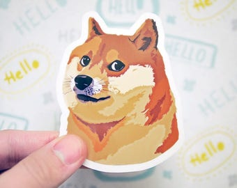 Doge Sticker - Shiba Inu Sticker - Funny Meme Stickers - Cute Dog Sticker - Puppy Stickers - Dog Lover - S106