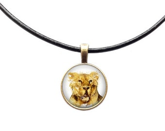 Lion pendant Animal necklace Nature jewelry Wilderness necklace Watercolor art
