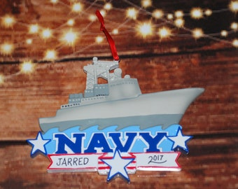Personalized Navy Air Craft Carrier Christmas Ornament