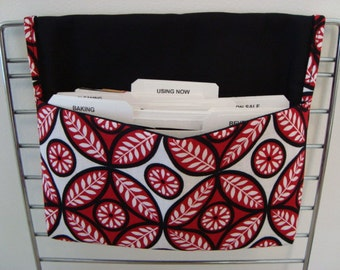 40% Off Coupon Organizer / Budget Organizer Holder - Attaches To Your Shopping Cart- Red and Black Geometric Floral