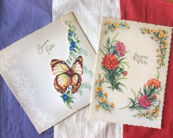 Pair of Vintage 1960's French Bithday Day cards